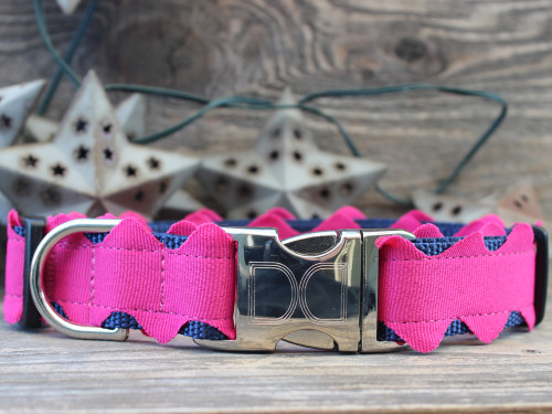 Brick-A-Bark hot pink dog collar - by Diva-Dog.com