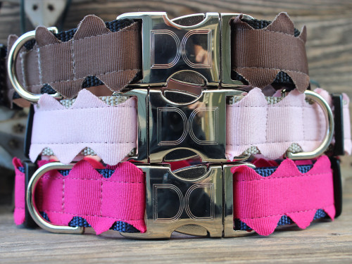 Brick-A-Bark dog collar from top to bottom: brown, light pink and hot pink - by Diva-Dog.com