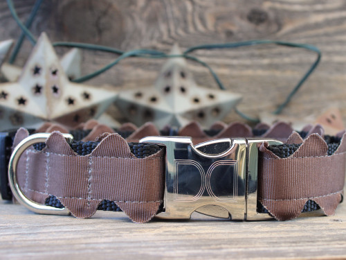 Brick-A-Bark brown dog collar - by Diva-Dog.com