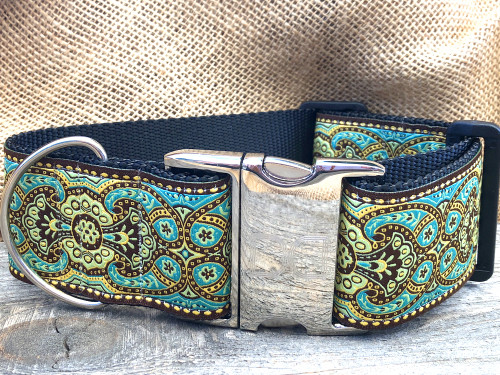Kashmir Teal 2 inch wide collars with a standard buckle option.