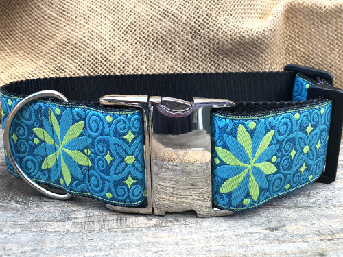 Pinwheel Caribbean Blue extra wide dog collar by www.diva-dog.com