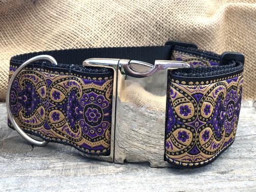 Kashmir Sultan Purple extra wide dog collar by www.diva-dog.com