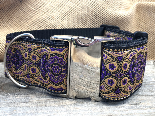 Kashmir Sultan Purple extra wide dog collar by www.diva-dog.com