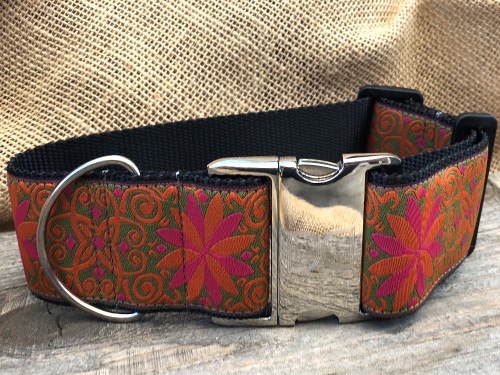 Pinwheel Mexicali Sunset extra wide dog collar by www.diva-dog.com