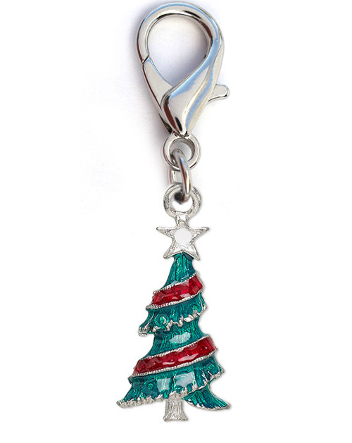 Christmas tree dog collar charm. Available in gold or silver. By www.diva-dog.com