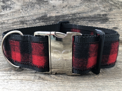 Buffalo Plaid Sierra Red extra wide collar by www.diva-dog.com
