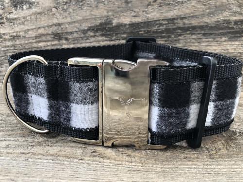 Buffalo Plaid Glacier White extra wide dog collar by www.diva-dog.com
