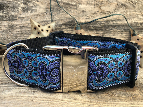 Kashmir Peacock Blue extra wide dog collar in peacock blue by www.diva-dog.com