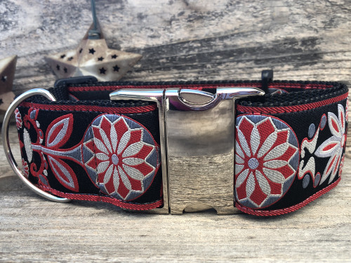 Mandala Star extra wide dog collar in Carnelian Red - by www.diva-dog.com