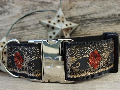 Dakota Rose extra wide dog collar by www.diva-dog.com