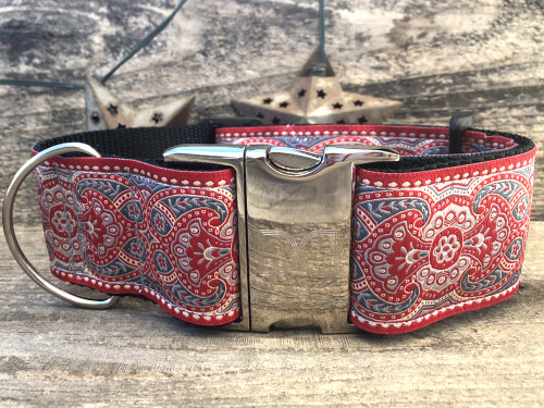 Kashmir Empress Red extra wide dog collar by www.diva-dog.com