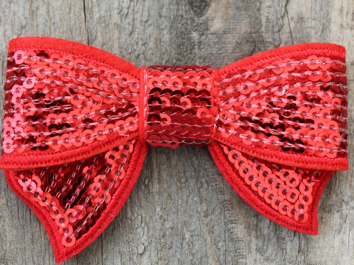 Dorothy's Slipper Bow for dog collars shown in packaging by www.diva-dog.com