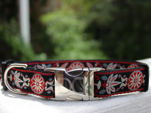 Carnelian Red dog collar by www.diva-dog.com
