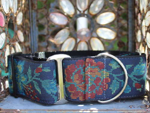 Nashville Rose dog collar and wide martingale by www.diva-dog.com