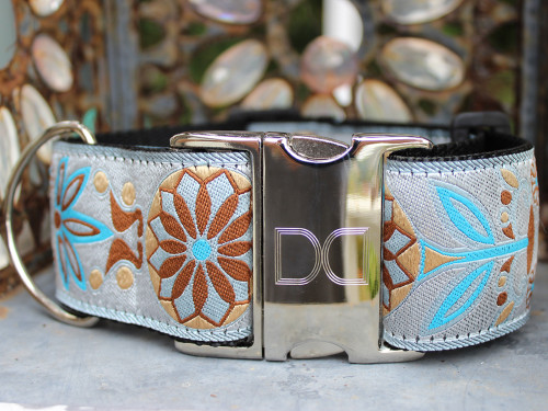 Boho Morocco extra wide dog collar - by www.diva-dog.com