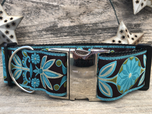 Boho Peacock extra wide dog collar - by www.diva-dog.com