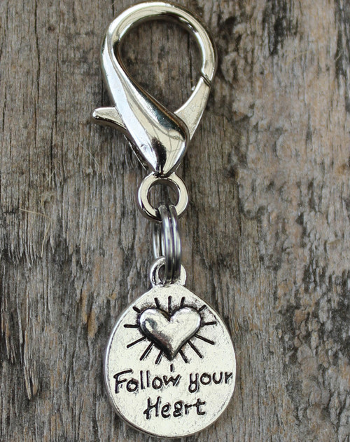 Follow Your Heart dog collar charm by www.diva-dog.com