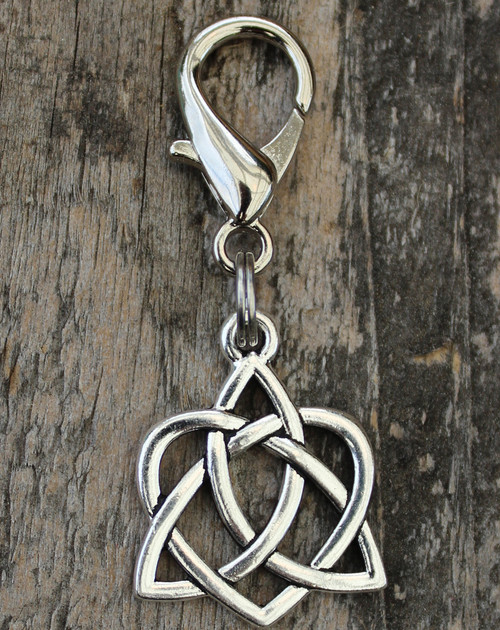 Celtic silver heart dog collar charm by www.diva-dog.com