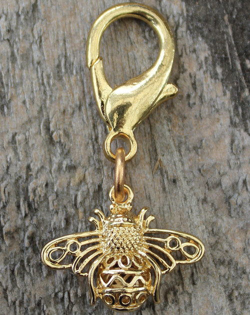 Busy Bee gold dog collar charm by www.diva-dog.com