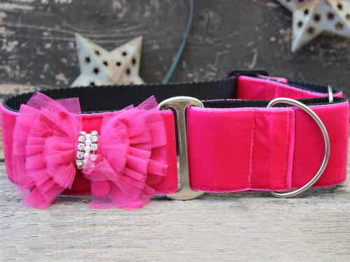Bardot pink velvet martingale dog collar by www.diva-dog.com