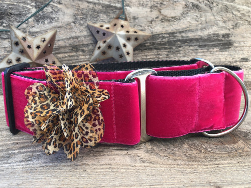 Pamela pink velvet martingale dog collar by www.diva-dog.com