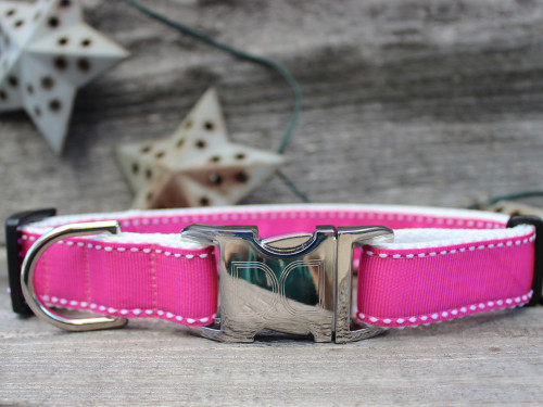 Preppy in Pink Dog Collar - by Diva-Dog.com