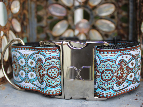 Kashmir Corfu Sky extra wide dog collar  - by www.diva-dog.com