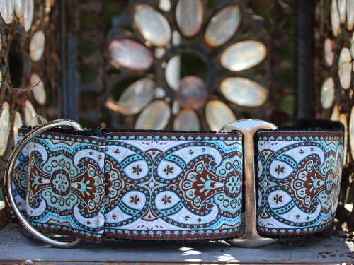Kashmir Corfu Sky martingale dog collar  - by www.diva-dog.com