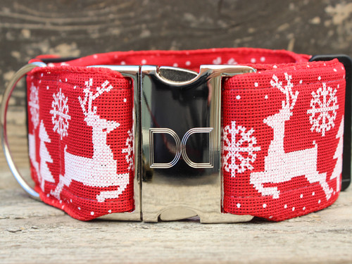 Reindeer Crossing extra wide dog collar by www.diva-dog.com