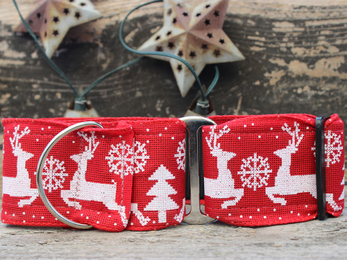Reindeer Crossing martingale dog collar by www.diva-dog.com