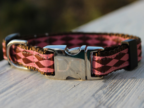 Harlequin Pink Dog Collar shown with brown nylon - by Diva-Dog.com