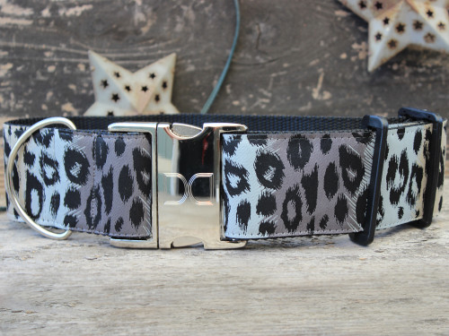Midnight Leopard extra wide dog collar by www.diva-dog.com