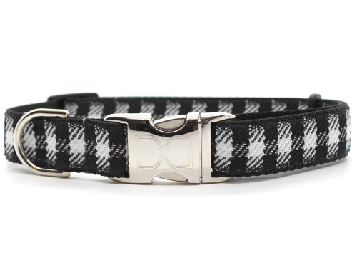Buffalo Plaid glacier white dog collar by www.diva-dog.com