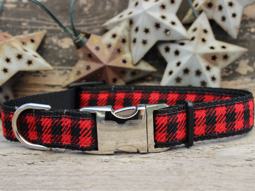 Buffalo Plaid Sierra Red dog collar by www.diva-dog.com
