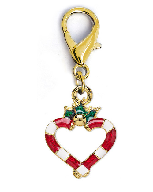 Candy Cane Heart dog collar charm by www.diva-dog.com
