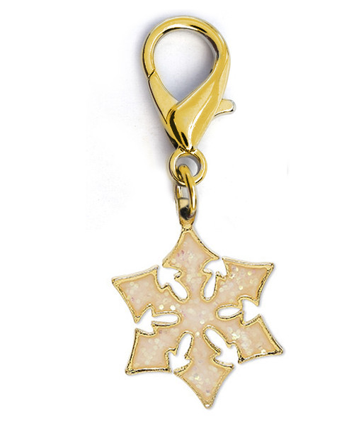 Snowflake Shimmer dog collar charm by www.diva-dog.com