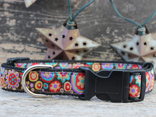 Ibiza Gumdrop Dog Collar with sport buckle - by Diva-Dog.com shown in the dark color palette