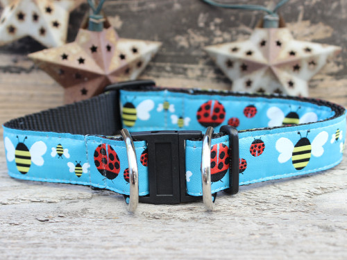 lady bugs and bumble bees dog collar with break away buckle - by Diva-Dog.com