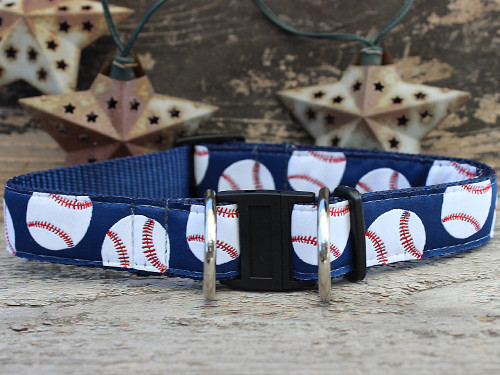 Baseball dog collar with breakaway safety buckles by www.diva-dog.com