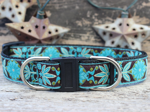 Boho Peacock safety dog collar with breakaway buckle by www.diva-dog.com