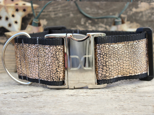 Monty Metallic extra wide dog collar by www.diva-dog.com