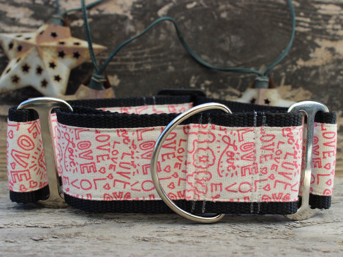 Love Notes extra wide martingale dog collar by www.diva-dog.com