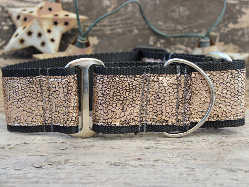 Monty Metallic rose gold dog martingale by www.diva-dog.com