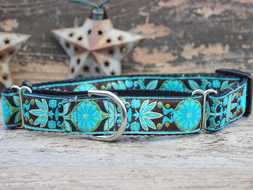 Boho Peacock medium martingale dog collar by www.diva-dog.com