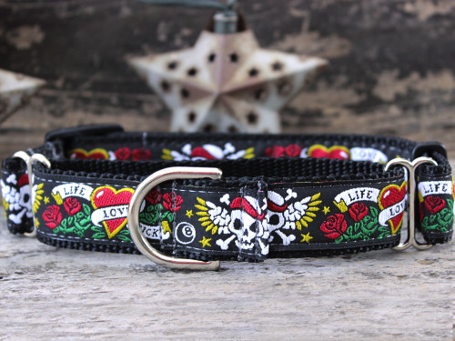 Wild One black medium martingale dog collar by www.diva-dog.com