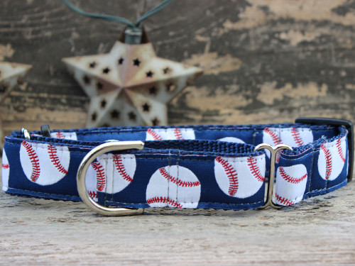 Baseball medium martingale dog collar by www.diva-dog.com