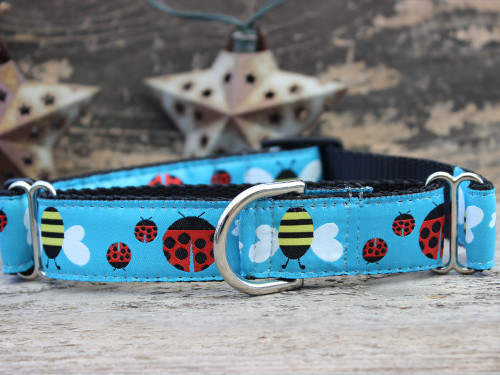 Lady Bugs and Bumble Bees medium martingale dog collar by www.diva-dog.com