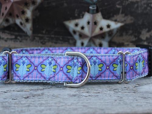 Queen Bee Blue Berry Pie medium martingale dog collar by www.diva-dog.com