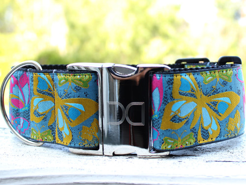 Butterfly Garden extra wide dog collar by www.diva-dog.com