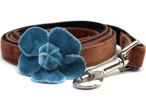Camellia Blue Dog Leash - by Diva-Dog.com